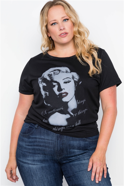 Marilyn Monroe Print black plus size top