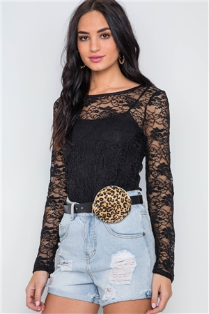 Black Sheer Floral Lace Long Sleeve Top