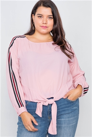 Pink Color Block Sleeve Front Knot Semi-Sheer Top