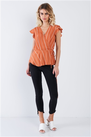 Dark Melon Orange Stripe Wrap Peplum Flounce Hem V-Neck Top