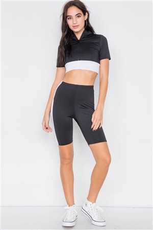 Black & White Contrast Trim Crop Pull Over & Mini Biker Short Set