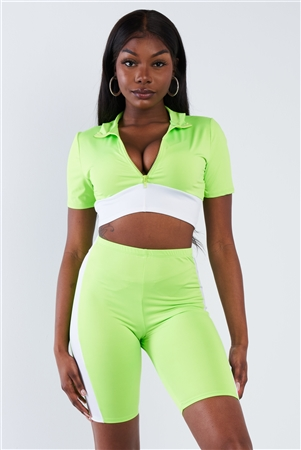 Neon Green & White Contrast Trim Crop Pull Over & Mini Biker Short Set