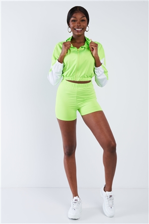 Lime Contrast Trim Zip-Up Hoodie & Biker Short Set