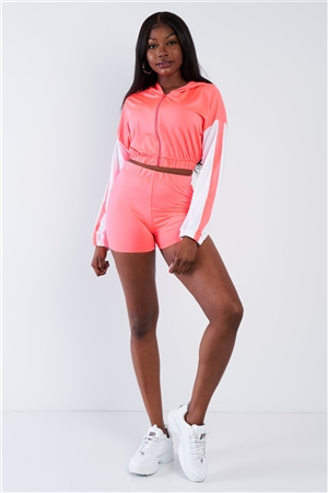Pink Contrast Trim Zip-Up Hoodie & Biker Short Set