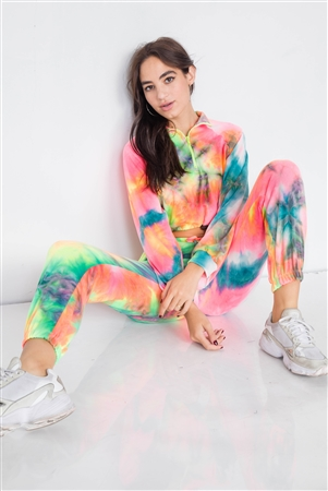 Neon Multi Crop Zip Sweater & Sweat Pant Two Piece Set