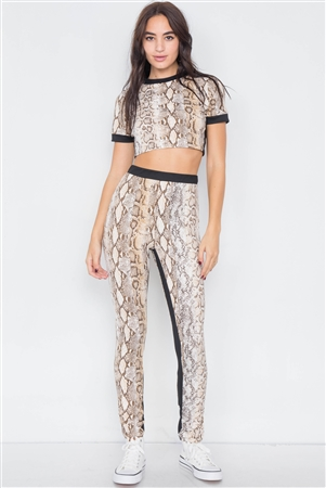 Camel Snake Print Black Trim Crop Trop & Leggings Set
