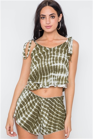 Olive Tie Dye Two Piece Crop Top Shorts Set