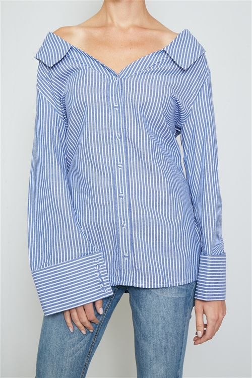Blue Tie Back Striped Off The Shoulder Shirt