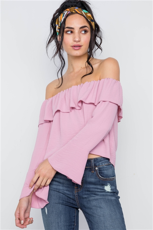 Blush Off-The-Shoulder Bell Sleeve Top