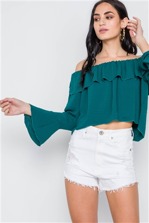 Emerald Green Off-The-Shoulder Bell Sleeve Top