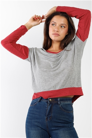 Lightweight knit grey red distress detailing top