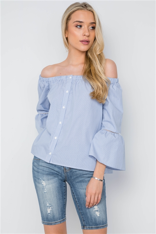 Blue White Stripe Off-The-Shoulder Button Down Boho Top