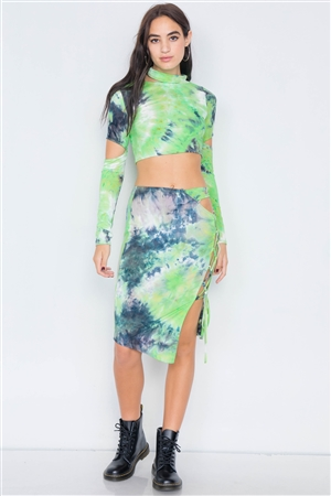 Lime Tie Dye Mock Neck Cut Out Long Sleeve & Mini Lace Up Slit Skirt Set