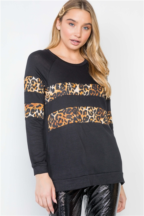Black Stripe Animal Print Casual Knit Sweater