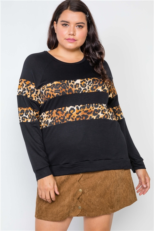 Plus Size Black Stripe Animal Print Combo Knit Top