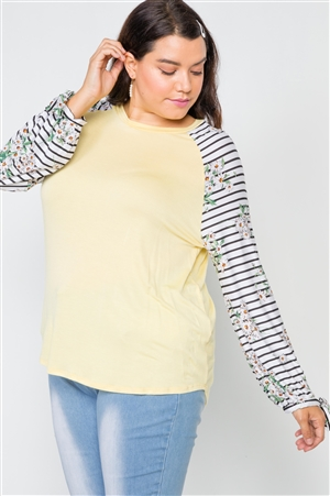Plus Size Yellow Floral Stripe Contrast Sleeve Top