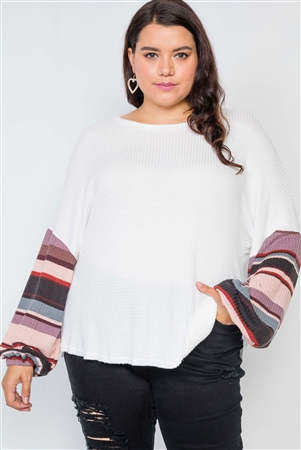 Plus Size Ivory Contrast Sleeves Knit Combo Top