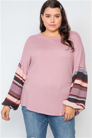 Plus Size Mauve Contrast Sleeves Knit Combo Top