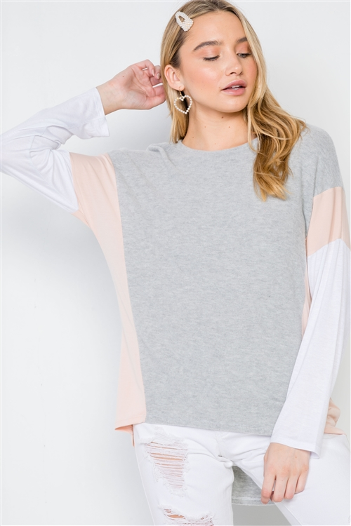 Ivory Grey Casual Colorblock Soft Sweater