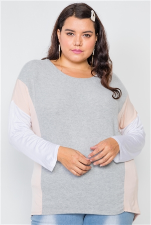Plus Size Ivory Grey Colorblock Soft Knit Top
