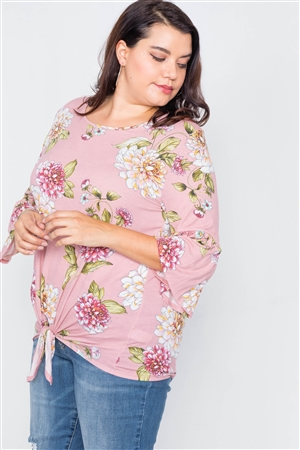 Plus Size Pink Floral Print Front Knot High-Low Top