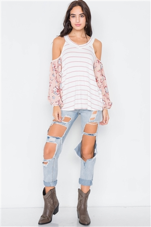 Ivory Mauve Stripe Cold Shoulder Top