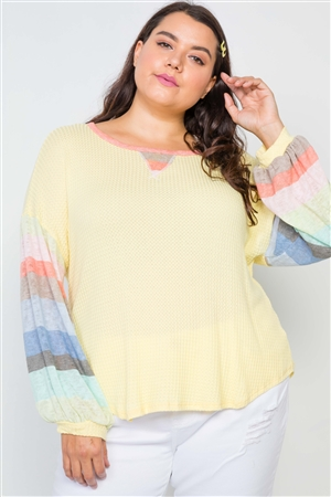Plus Size Yellow Contrast Stripe Sleeves Knit Top
