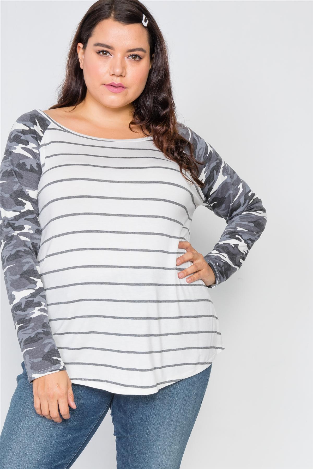 Plus Size Ivory Stripe Camo Print Long Sleeve Top