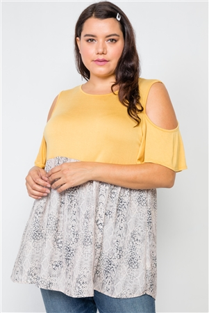 Plus Size Mustard Combo Cold Shoulder Top