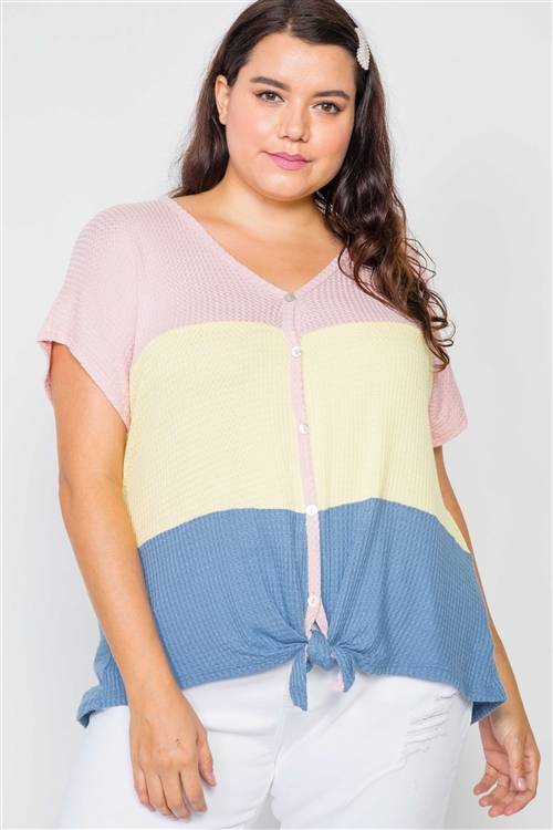 Plus Size Colorblock Button-Front Short Sleeve Top