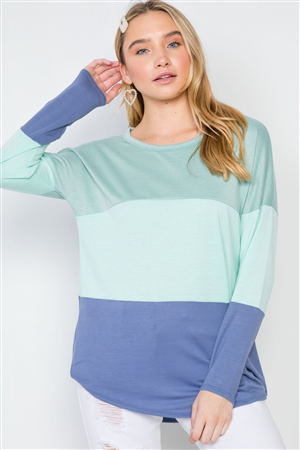 Multi Blue Colorblock Long Sleeve Sweater