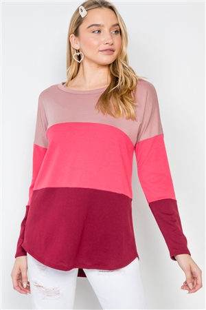 Mauve Coral Burgundy Colorblock Long Sleeve Sweater
