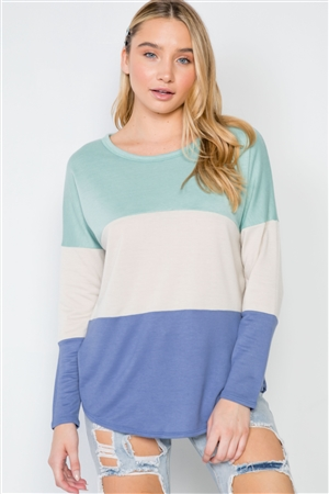 Mint Blue Colorblock Long Sleeve Sweater