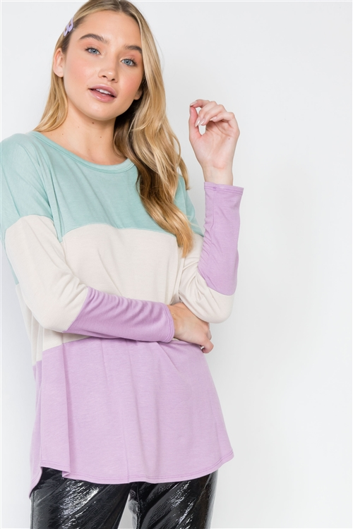 Mint Lavender Colorblock Long Sleeve Sweater