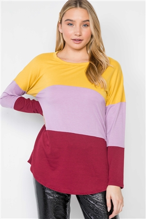 Mustard Lavender Red Colorblock Long Sleeve Sweater