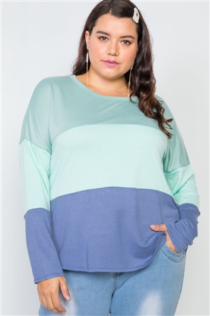 Plus Size Green Mint Blue Colorblock Soft Knit Top