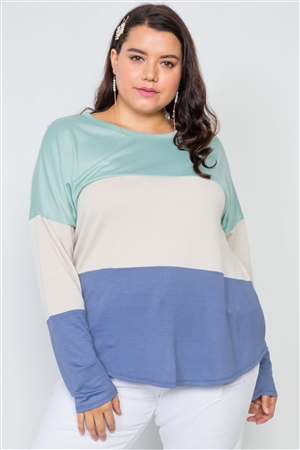 Plus Size Green Sand Colorblock Soft Knit Top