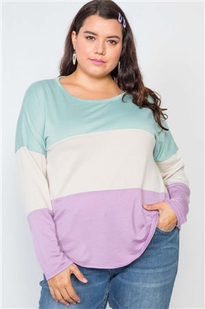 Plus Size Green Sand Lavender Top