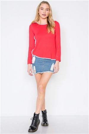 Red Knit Long Sleeve Contrast Trim Top