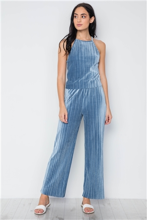 Blue Ribbed Velvet Crop Top And Pants Set