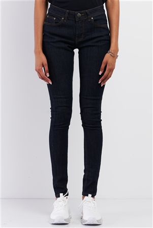 Dark Blue Low-Mid Rise Designed Back Pocket Straight Cut Denim Jeans /1-1-1-1-2-2-2-1-1