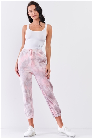 Cotton Candy Pink Tie-Dye Self-Tie Waist Detail Jogger Sweat Pants /2-2-1