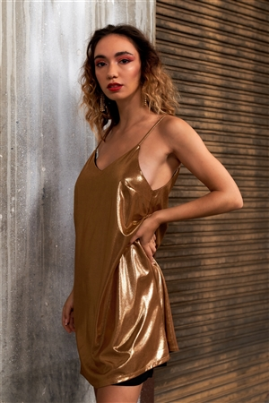 Gold Shiny Sleeveless V-Neck Swing Adjustable Cami Mini Dress /2-1-2