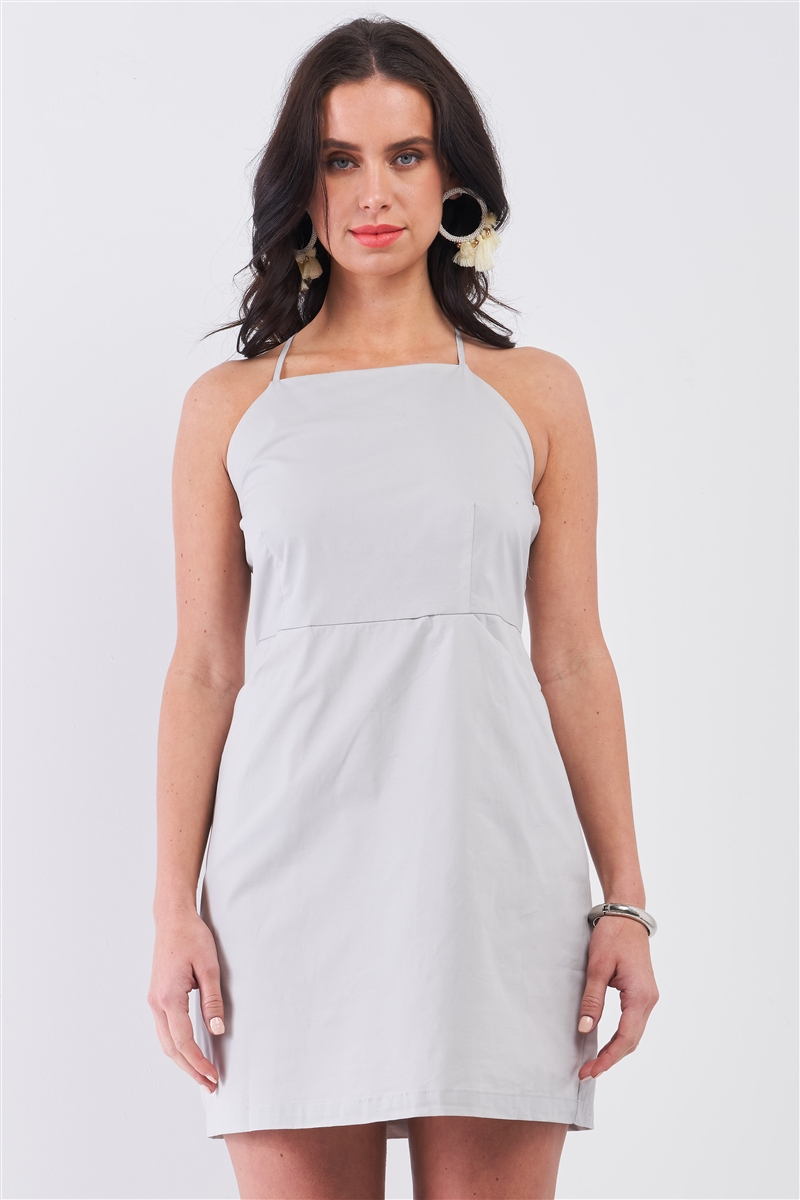 Light Grey Cotton Sleeveless Back Criss Cross Straps Square Neck Side Pockets Apron Mini Dress /1-2-2-1