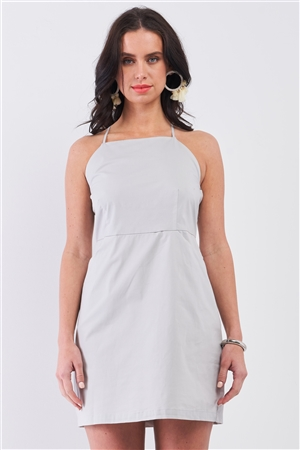 Light Grey Sleeveless Back Cris Cross Straps Square Neck Side Pockets Apron Mini Dress /1-2-3-1