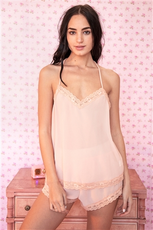 Peach Lace Racerback Cami And Shorts Pajama Set