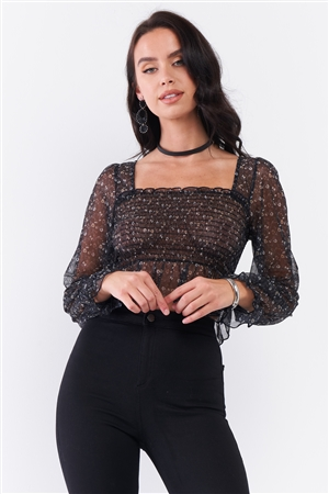 Black Floral Sheer Mesh Balloon Sleeve Criss-Cross Back Detail Smock Crop Top /3-2-1