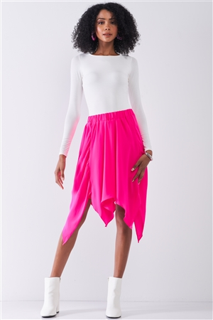 Hot Pink Solid Chiffon High Waist Leafy Midi Skirt /1-1-2