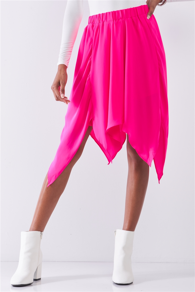 Hot Pink Solid Chiffon High Waist Leafy Midi Skirt /1-2-2-1