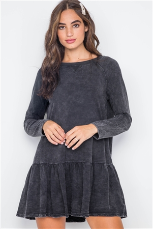 Black Casual Shirred Hem Long Sleeve Dress